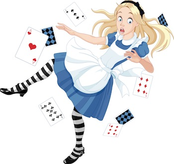 Alice in Wonderland falling surrounded by playing cards